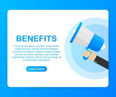 Hand holding megaphone - Benefits. Vector stock illustration.