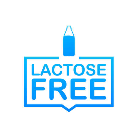 Lactose free icon. Vector contains no lactose label for healthy daiy food product package. Vector stock illustration.