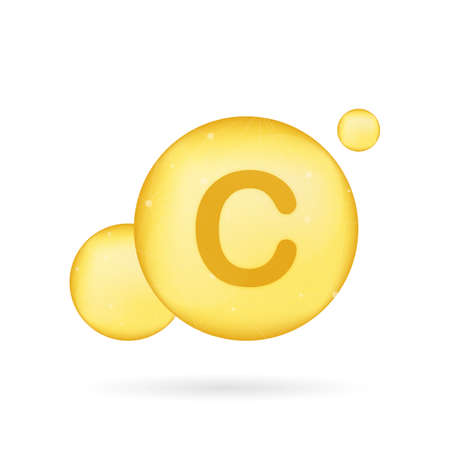 Vitamin C gold shining icon. Ascorbic acid. Vector stock illustration
