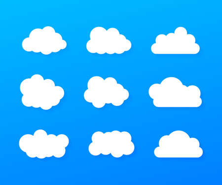 Set of blue sky, clouds. Cloud icon, cloud shape. Set of different clouds. Collection of cloud icon. Vector stock illustration.