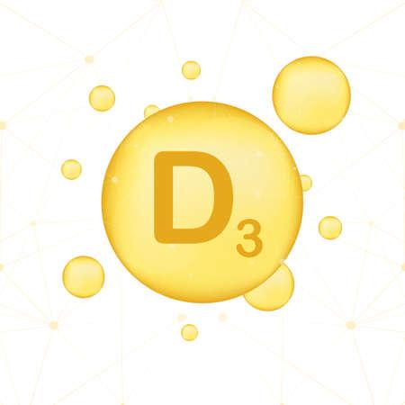 Vitamin D 3 gold shining icon. Ascorbic acid. Vector stock illustration