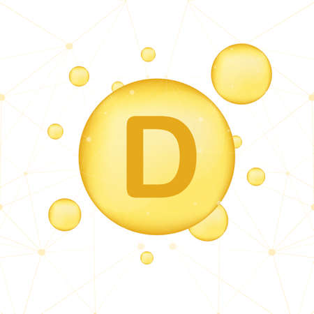 Vitamin D gold shining icon. Ascorbic acid. Vector stock illustration Ilustração