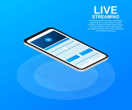 Concept live streaming for web page, banner, presentation, social media, documents. Watch video online. Vector stock illustration. Ilustração