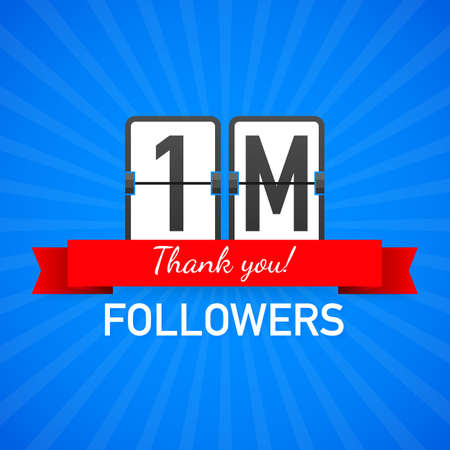 1M followers, Thank You, social sites post. Thank you followers congratulation card. Vector stock illustration.