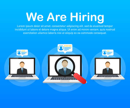 We are hiring. Recruitment concept. Hire workers, choice employers search team for job. Resume icon. Vector stock illustration.