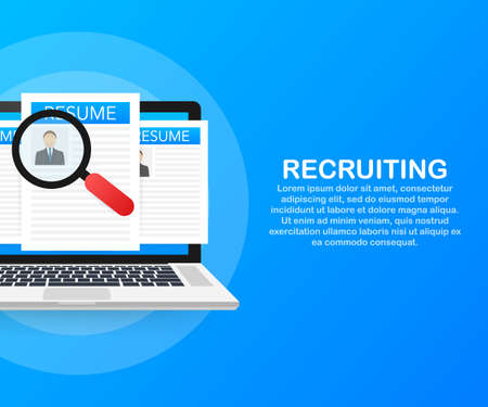 Recruitment concept. Hire workers, choice employers search team for job. Resume icon. Vector stock illustration.