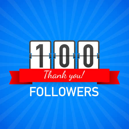 100 followers, Thank You,  social sites post. Thank you followers congratulation card. Vector stock illustration. Reklamní fotografie - 116837621