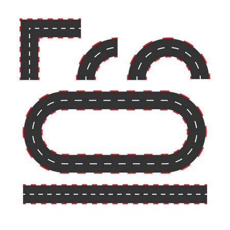 Rallyraces lijnbaan of wegmarkering. Auto of karting road racing vector achtergrond. Vector voorraad illustratie. Vector Illustratie