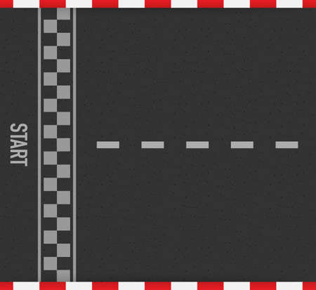 Rally races line track or road marking. Car or karting road racing vector background. Vector stock illustration. Stock Illustratie