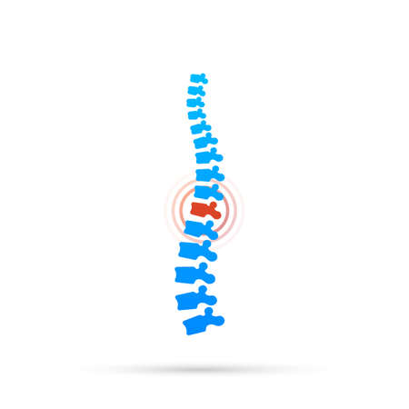 Vector human spine with pain isolated silhouette illustration. Spine pain medical center, clinic, rehabilitation. Vector stock illustration.