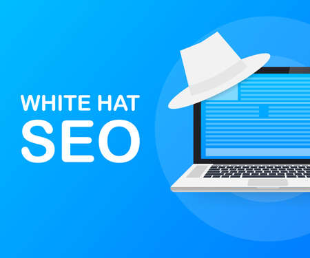 White hat seo banner. Magnifier, and other search engine optimization tools and tactics. Vector stock illustration.