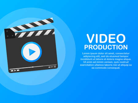 Content production, development, article writing, video. Video production. Vector stock illustration. Vektorové ilustrace