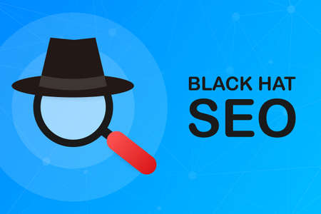 Black hat seo banner. Magnifier, and other search engine optimization tools and tactics. Vector stock illustration. Ilustração