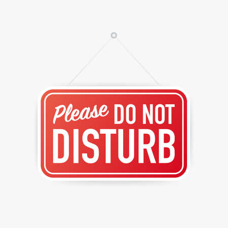 Please do not disturb hanging sign on white background. Sign for door. Vector stock illustration. Çizim