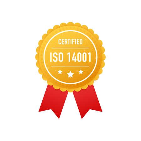 ISO 14001 certified golden label on white background. Vector stock illustration.