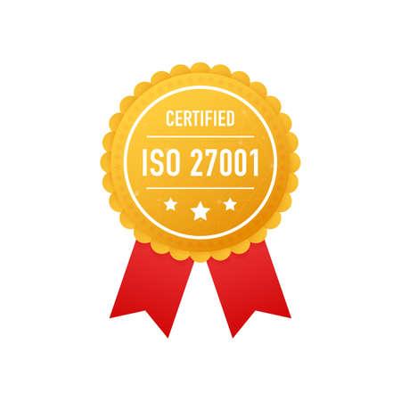 ISO 27001 certified golden label on white background. Vector stock illustration.