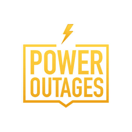 Power outages. Badge, icon, stamp, logo. Vector stock illustration.
