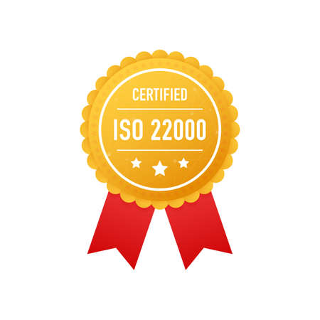 ISO 22000 certified golden label on white background. Vector stock illustration. Çizim