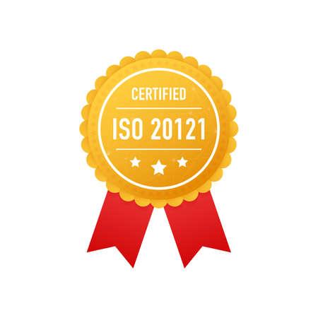 ISO 20121 certified golden label on white background. Vector stock illustration. Çizim