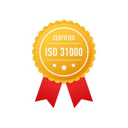 ISO 31000 certified golden label on white background. Vector stock illustration.