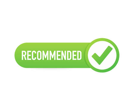 Recommend icon. White label recommended on green background. Vector stock illustration.