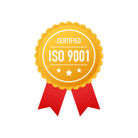 ISO 9001 certified golden label on white background. Vector stock illustration. Çizim