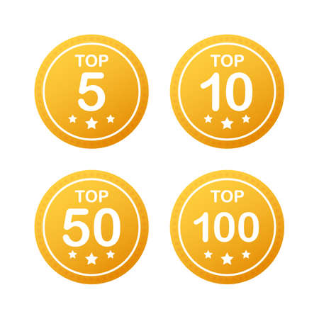 Vector set icon top rating: tor 5, top 10, top 50 and top 100 rating. Vector stock illustration.