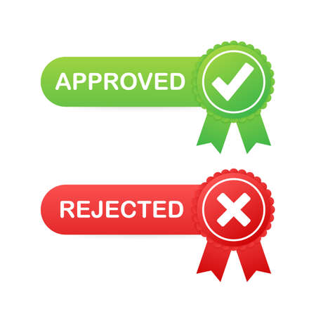 Approved and rejected label sticker icon on white background. Vector stock illustration.