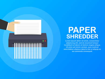 Paper shredder icon document business office information protection. Vector stock illustration Illustration