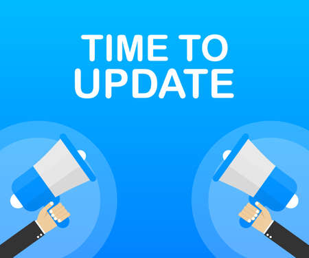 System software update or upgrade. Banner new update. Megaphone with Time to Update. Vector stock illustration. Ilustrace