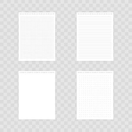 ノートブックのモックアップ、画像、テキスト、または企業のアイデンティティの詳細のための場所。透明な背景に影を付けて空白のモックアップ。ベクトルストックのイラスト。 ベクターイラストレーション