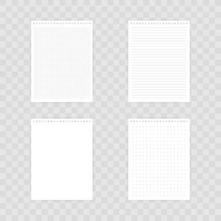 Notebook mockup, with place for your image, text or corporate identity details. Blank mock up with shadow on transparent background. Vector stock illustration.