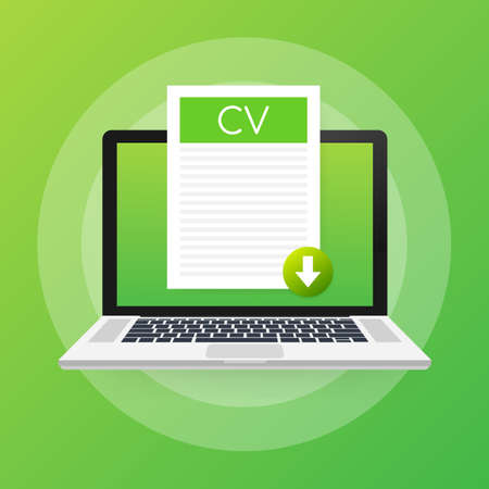 Download CV button on laptop screen. Downloading document concept. File with CV label and down arrow sign. Vector stock illustration. Ilustración de vector