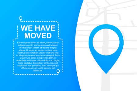 Nos hemos mudado. Signo de oficina en movimiento. Imagen de imágenes prediseñadas aislada sobre fondo azul. Ilustración de stock vectorial. Ilustración de vector
