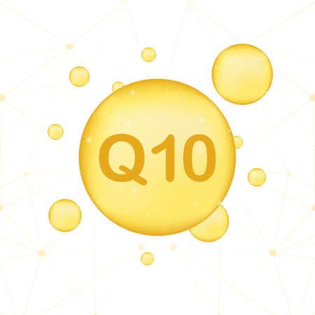 Coenzima Q10. Icona dell'olio di vettore dell'oro. Capsula di pillola di goccia di enzima. Illustrazione di riserva di vettore.
