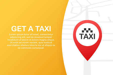 Get a taxi. Taxi banner. Online mobile application order taxi service horizontal illustration. Vector stock illustration.