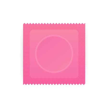 Condom Plastic Package with Obvious Circle Product Shape and Toothed Edge. Pink condom with packing. Vector stock illustration.