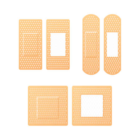 Elastic medical plasters. Adhesive bandage, called a sticking plaster collection. Vector stock illustration. Standard-Bild - 117832395