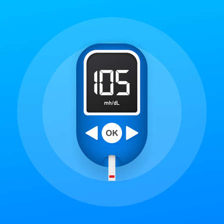Blood glucose meter level test. Diabetes glucometer. Abstract concept graphic web banner element. Vector stock illustration.