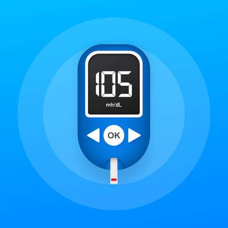 Prueba de nivel del medidor de glucosa en sangre. Glucómetro para diabetes. Elemento de banner web gráfico de concepto abstracto. Ilustración de stock vectorial. Ilustración de vector