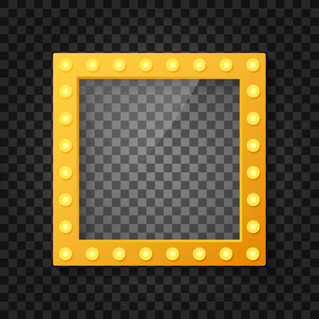 Makeup mirror isolated with gold lights. Mirrors frame with light bulbs and mirrored reflection. Vector stock illustration