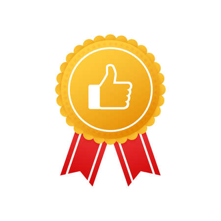 Badge with thumbs up on whine background. Vector stock illustration. 일러스트