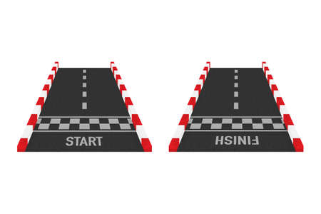 Rally races line track or road marking. Car or karting road racing vector background. Vector stock illustration.