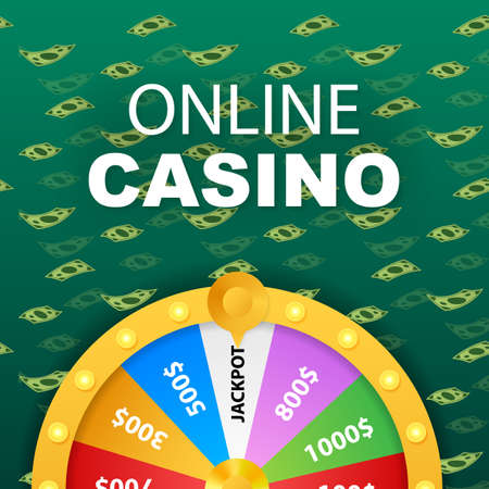 Roulette 3d fortune. Wheel fortune for game and win jackpot. Online casino concept. Internet casino marketing. Vector stock illustration.