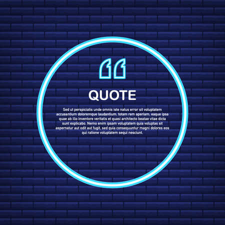 Quote. Vector Neon Quote Box, Shining on Blue Background. Vector stock illustration.