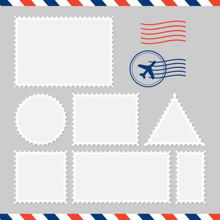 Postal card isolated on white background. Vector stock illustration Çizim