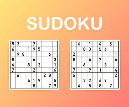 Sudoku puzzle game. Vector sudoku puzzle game with numbers. Vector stock illustration.