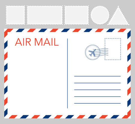 Postal card isolated on white background. Vector stock illustration Vector Illustration