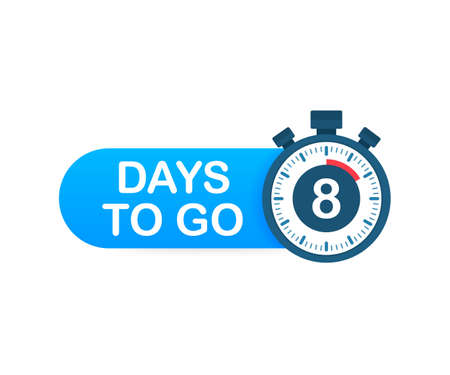 Eight days to go. Time icon. Vector stock illustration on white background.
