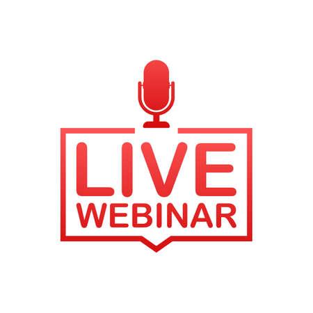 Pulsante Webinar dal vivo, badge, icona, logo. Illustrazione di riserva di vettore. Logo